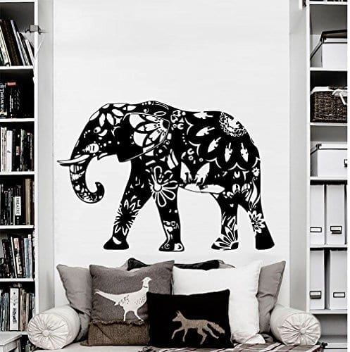 large black an white flower patterned elephant wall sticker