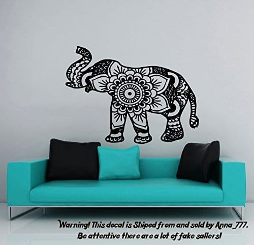 black and white flower patterned elephant wall sticker