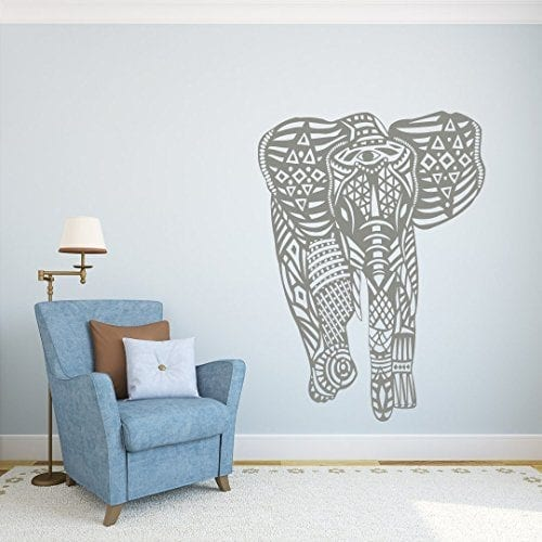 large grey lined pattern elephant wall sticker