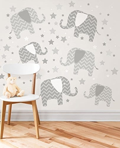 striped grey elephants with stars wall stickers