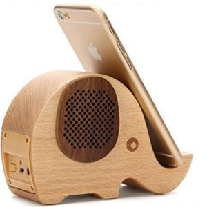 wood effect elephant shaped speaker