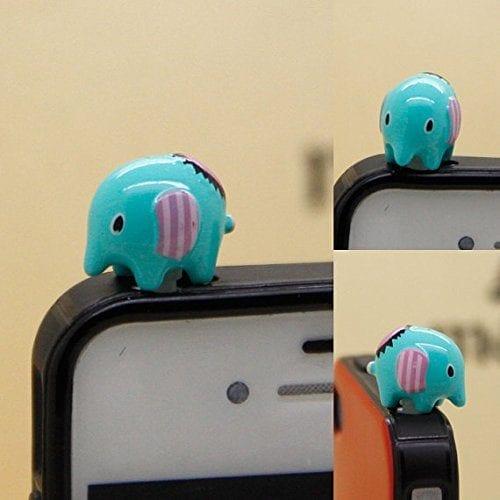 tiny blue elephant dust plug for headphone jack