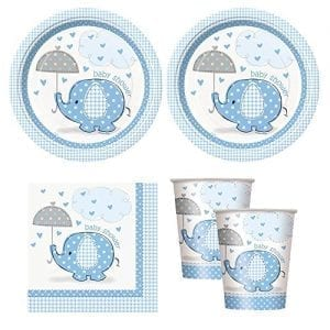 white plastic plates cups and napkins with blue decoration and blue elephants