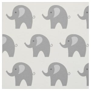 grey elephant fabric with repeating elephant pattern