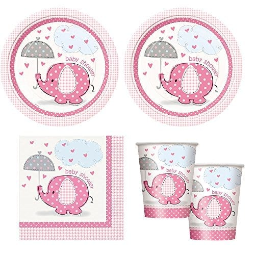 white plastic plates cups and napkins with pink decoration and pink elephants on them