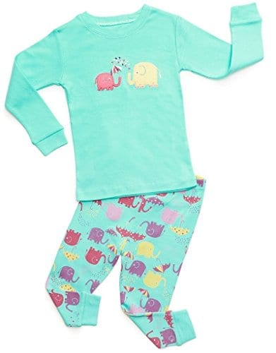 teal and purple pyjamas with elephants and umbrellas