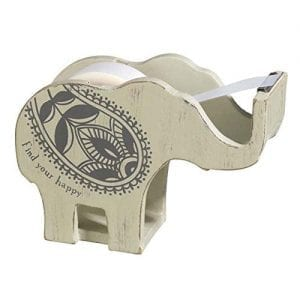 small wooden tape dispenser shaped like an elephant with floral pattern and find your happy slogan