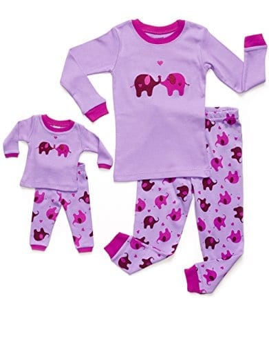 pink and purple pyjamas with elephant and heart pattern
