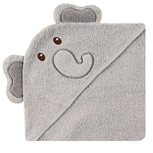 grey hooded towel with elephant face and ears