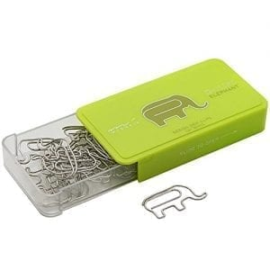 box of paper clips shaped like elephants