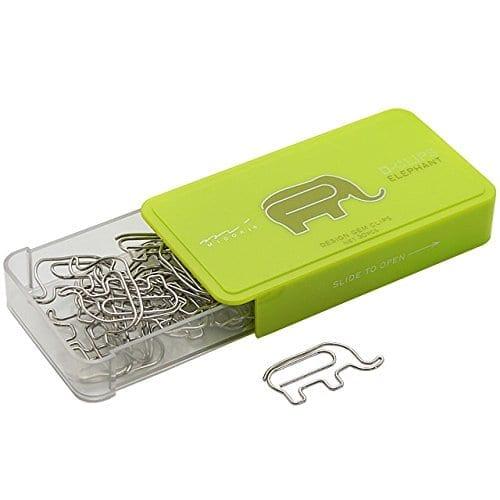 box of paper clips shaped like elephants