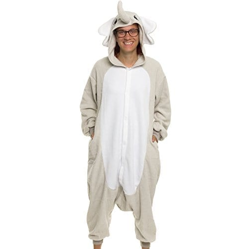 Silver Lilly Adult Pajamas – Plush One Piece Cosplay Elephant Animal Costume  (M) d2cd345df