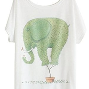 white t shirt with topiary bush shaped as an elephant