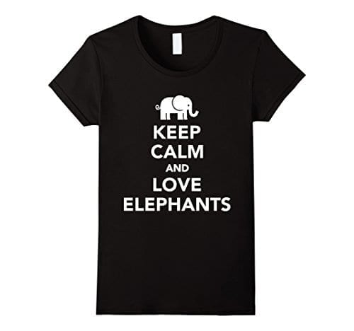 black t shirt with keep calm slogan and small elephant