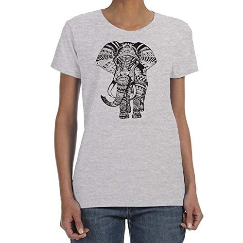 grey t shirt with tribal patterned elephant