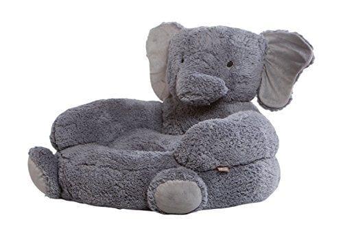 grey plush chair shaped like a hugging elephant