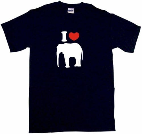 navy t shirt with heart and elephant silhouette