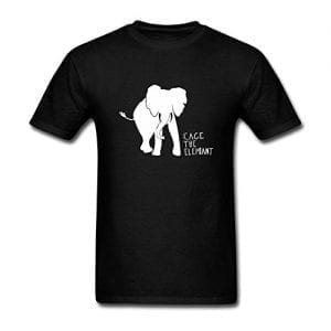 black t shirt with elephant silhouette and slogan