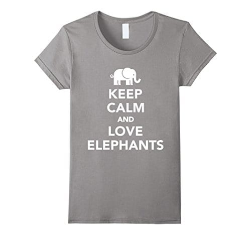 grey t shirt with keep calm slogan and picture of elephant